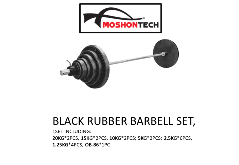 BLACK RUBBER BARBELL SET