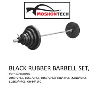 BLACK RUBBER BARBELL SET